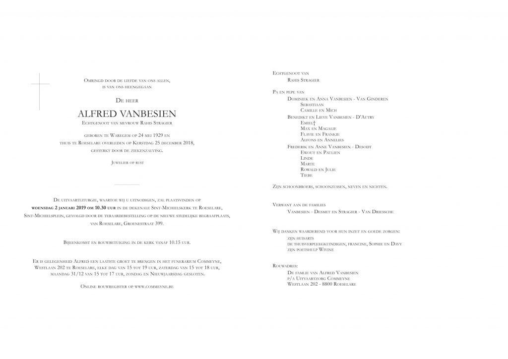 Overlijdens bericht Alfred Vanbesien (Klik voor groot formaat)